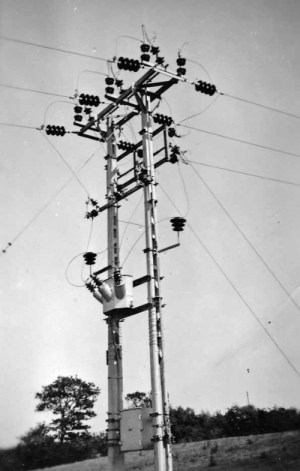 SWEHS 9.0.084.jpg - Date C1950 - Christow to Tedburn 11kV overhead line pole 153. Devon, Christow and Tedburn .