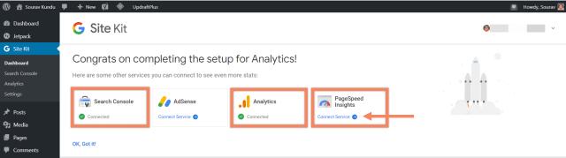 كيفية ربط Google Site Kit و Google Analytics 4 Success Pagespeed