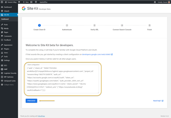 Plugin Google Site Kit pour la configuration du client WordPress