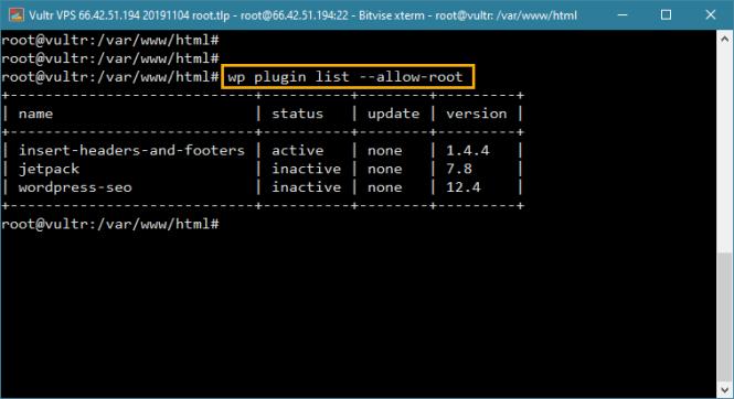 wp-cli liste tous les plugins installés dans wordpress