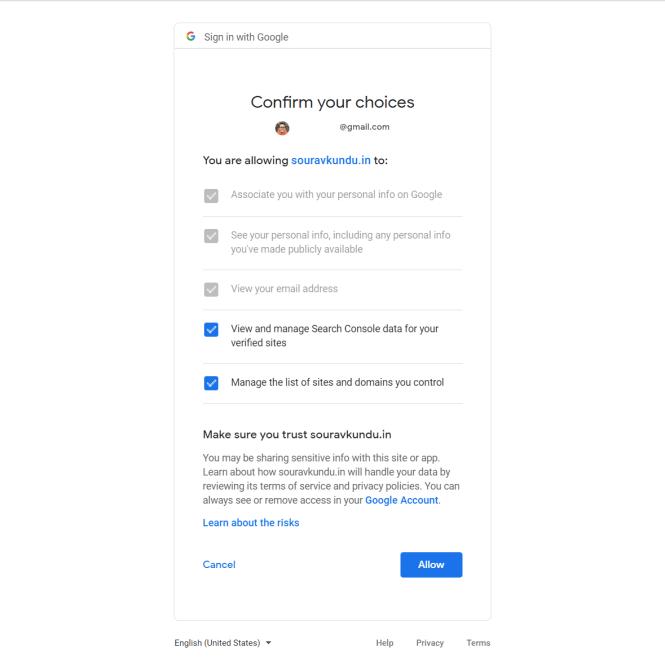 Plug-in Google Site Kit pour l'authentification WordPress - Révision des autorisations du compte Google