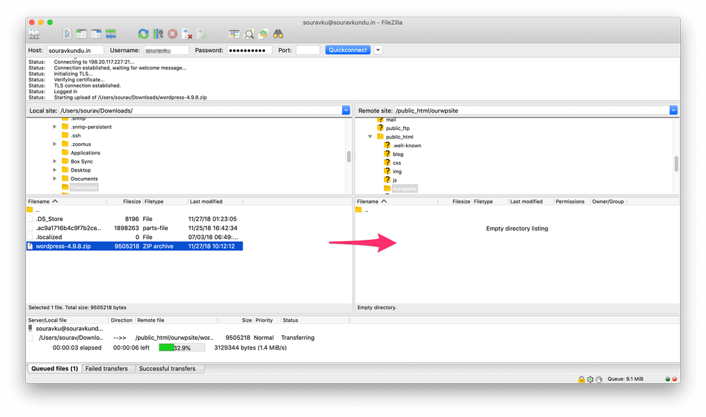 загрузка zip-архива WordPress через FTP