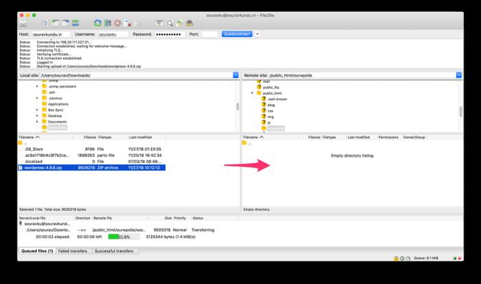 subiendo el archivo zip de wordpress a través de ftp