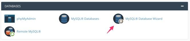 lancement de l'assistant de base de données mysql à partir de cpanel