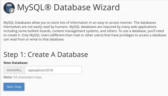 création d'une nouvelle base de données mysql dans cpanel 1 nom de la base de données