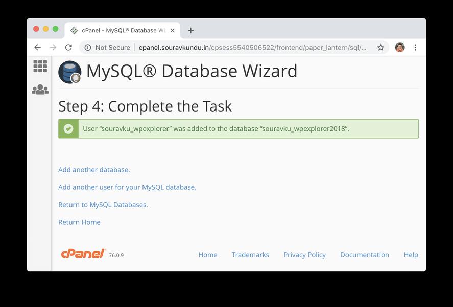 Создание новой базы данных MySQL в Cpanel успешно создан