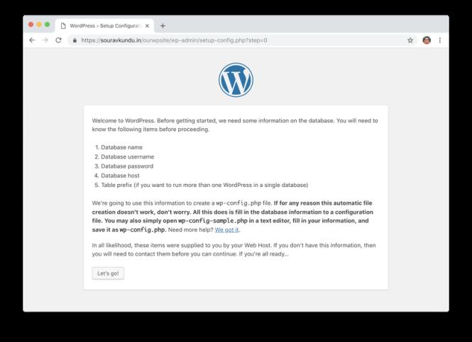 wordpress 5 minutes installer 2 démarrer
