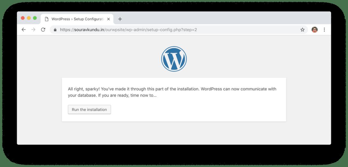 WordPress 5 минут установки 4 запуска установки