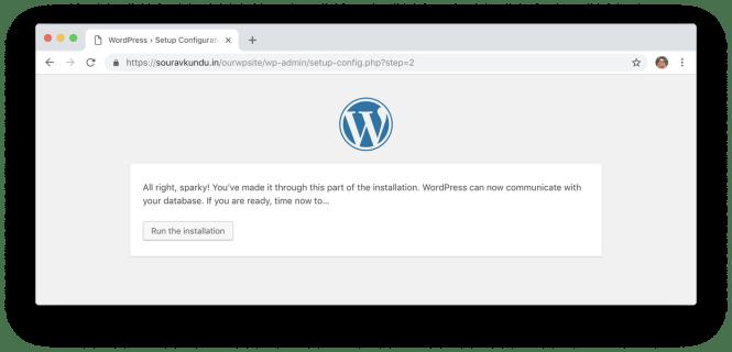 wordpress 5 minute install 4 run installation