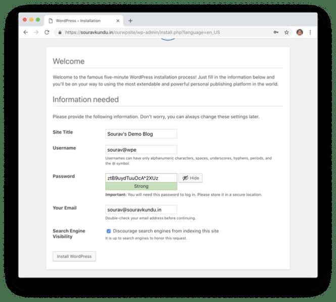wordpress 5 minute install 5 informations de configuration du site
