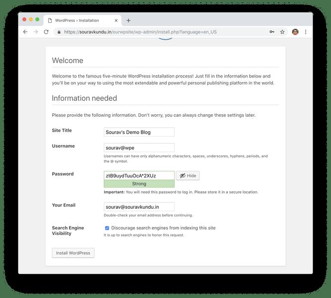 WordPress 5 minutos instalar 5 información de configuración del sitio