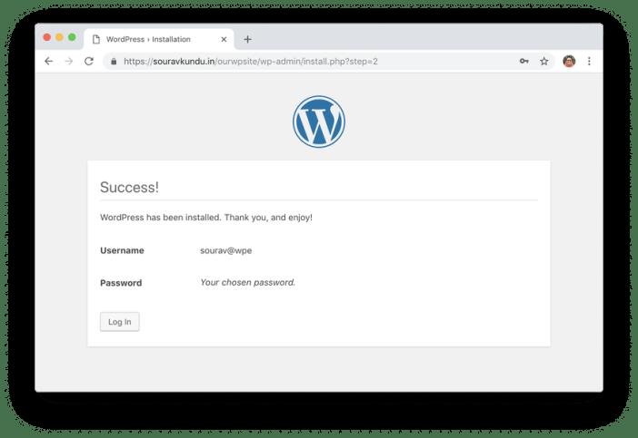 wordpress 5 minutos instalar 6 completado