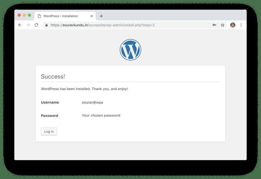 WordPress 5 минут, установка 6 завершена