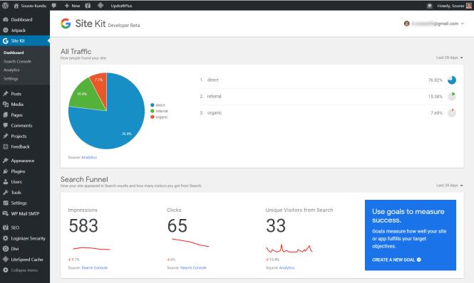 Configuration de Google Analytics avec le tableau de bord Site Kit