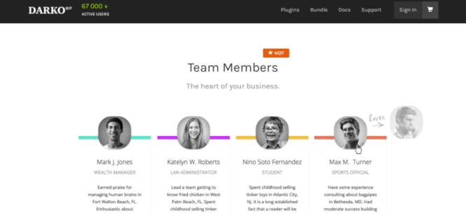 Plugin WordPress pour Darko Team Members Pro