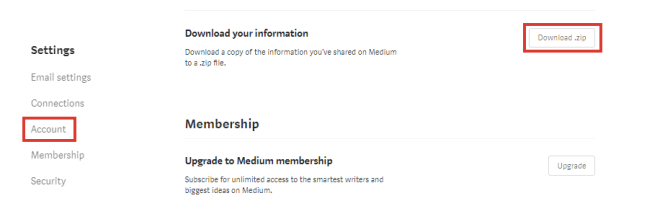 Exporter les articles de Medium