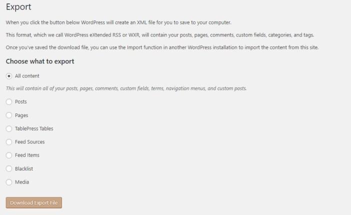 Función nativa de exportación de WordPress