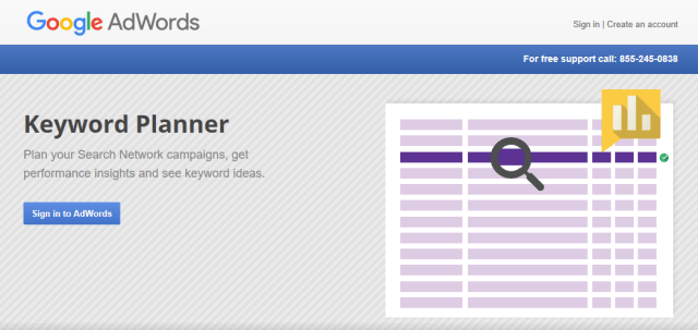 The Google Keyword Planner homepage
