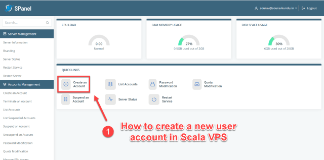How to create a new user account in Scala spanel VPS 1