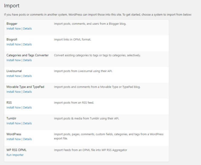 Import WordPress natif