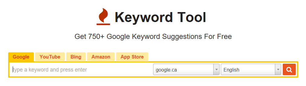 The Keyword Tool homepage showing the search bar