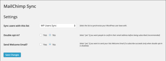 Paramètres MailChimp User Sync