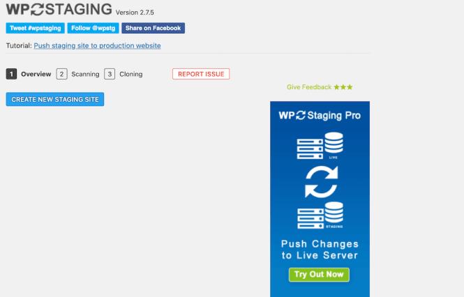 Configuration de la mise en scène avec WP Staging