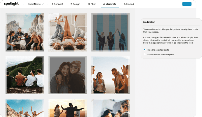 Modération des flux Instagram Spotlight