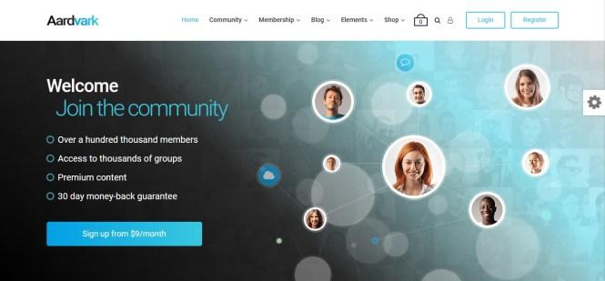 Aardvark Buddypress Community WordPress Theme