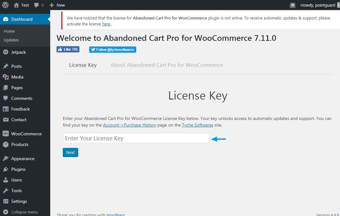 заброшенная карточка pro для лицензионного ключа woocommerce