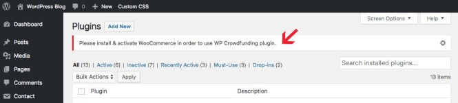 WP Crowdfunding Activer WooCommerce