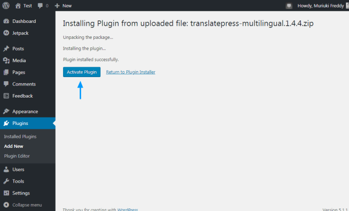 activando el plugin de wordpress traductor