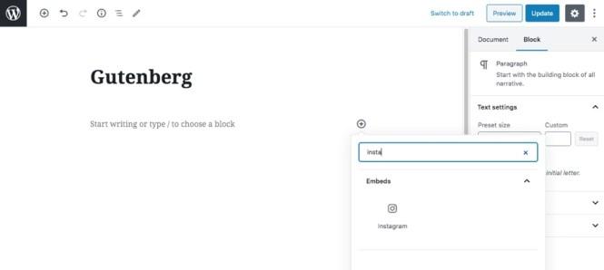 Bloc Instagram de Gutenberg