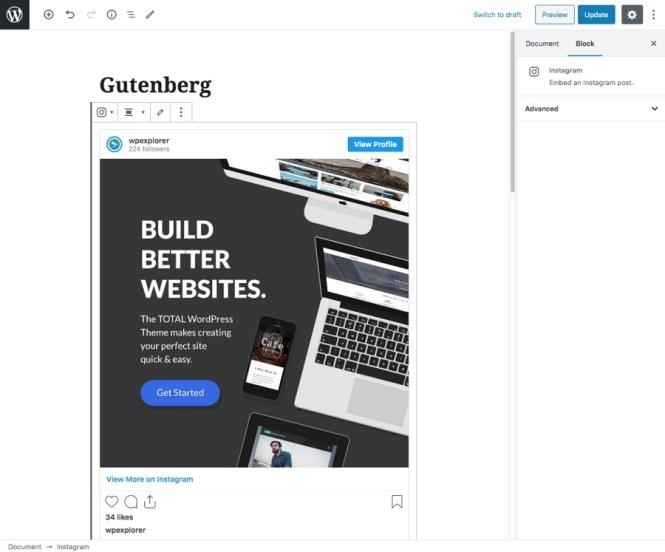 Ajout de photos Instagram à Gutenberg