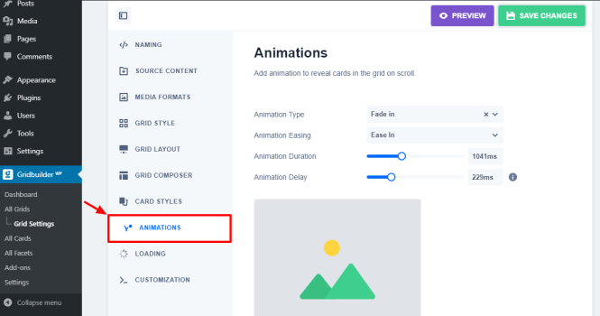 animations de gridbbuilder