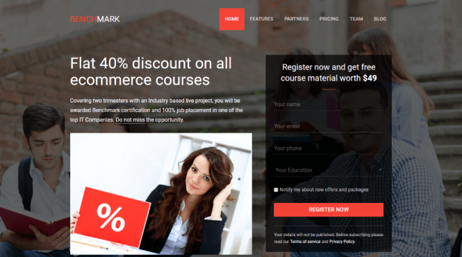 Benchmark Landing Page Thème WordPress