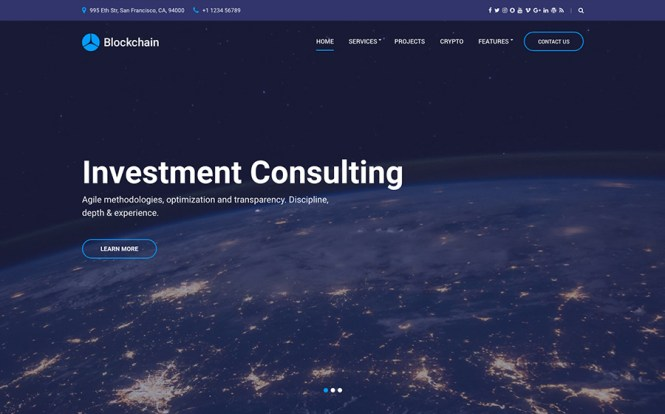 Thème WordPress Blockchain Cryptocurrency & Consulting