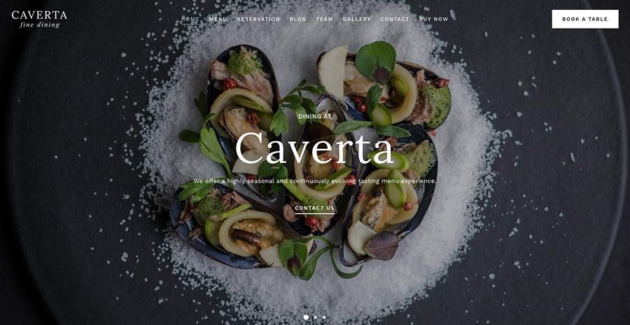 Caverta Ресторан изысканной кухни WordPress Theme