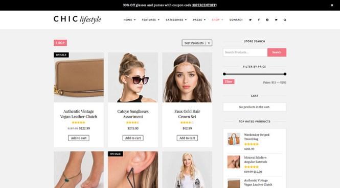 Blog WordPress chic et thème de la boutique
