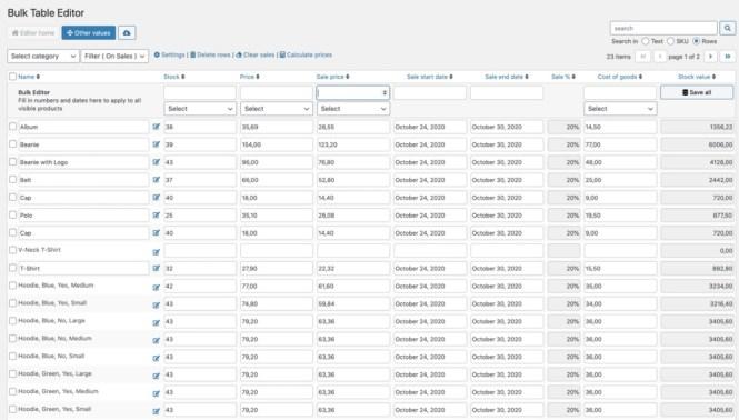 Exemple d'éditeur de table en bloc par consortium