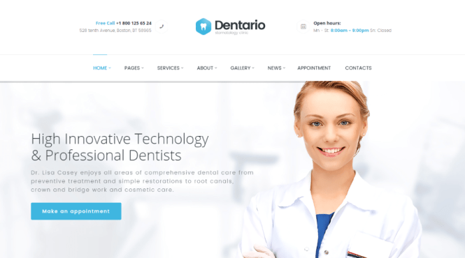 Thème WordPress Dentario Dental