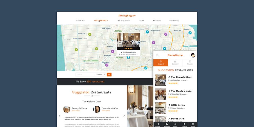 DiningEngine Restaurant Directory WordPress Theme