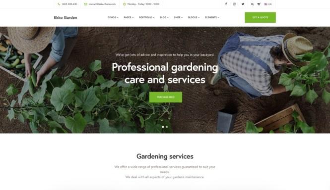 Ekko Jardinage Thème WordPress avec Page Builder