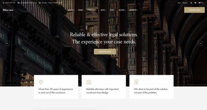 Ekko Lawyer Thème WordPress avec Page Builder