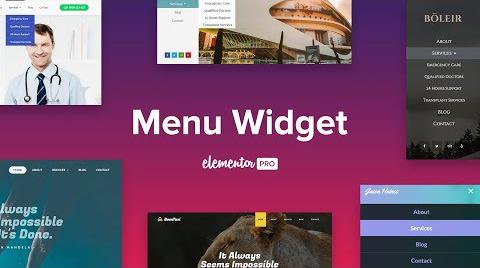 Widget du menu Elementor Pro Nav