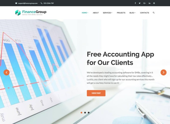 FinanceGroup Accounting Business WordPress Theme