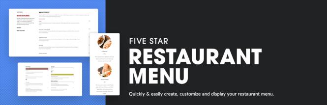 Menu du restaurant cinq étoiles