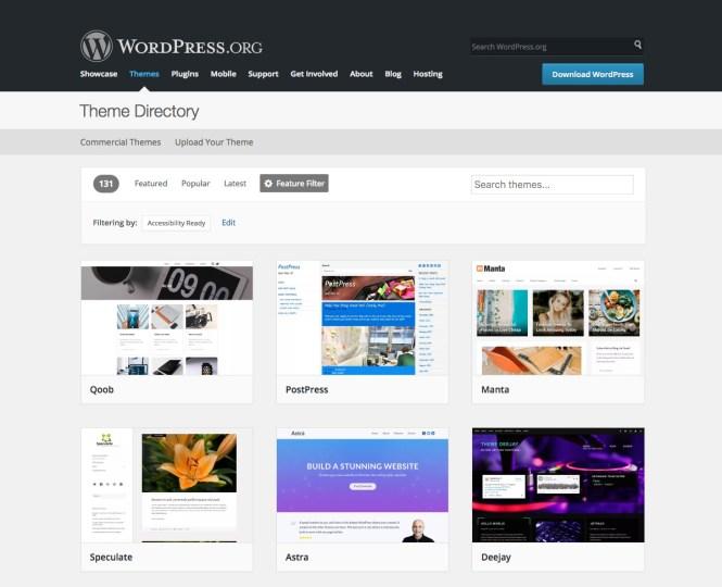 Thèmes prêts pour l'accessibilité WordPress.org