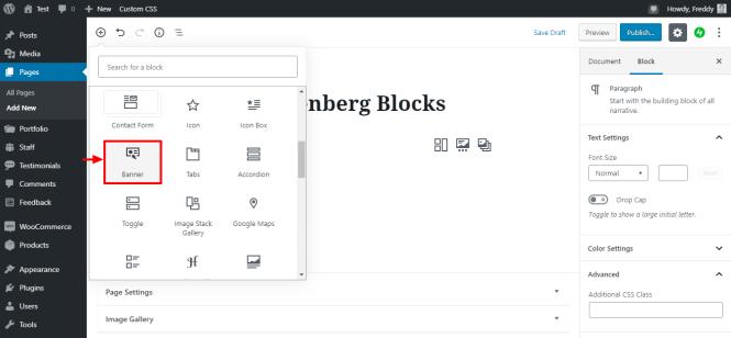 getwid banner block