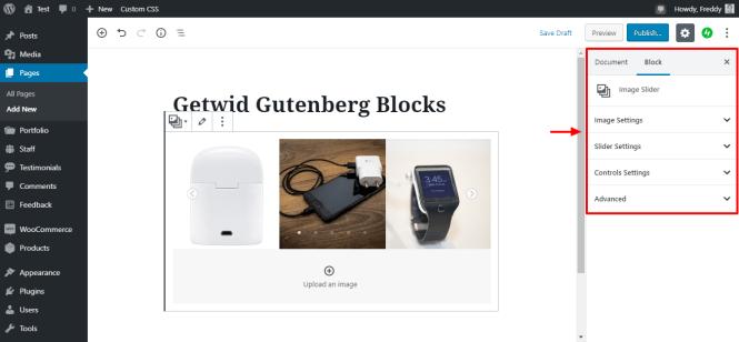 Getwid image curseur paramètres
